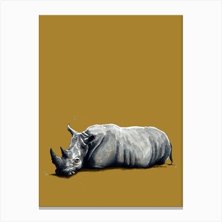 The Rhino On Burnt Gold Canvas Print