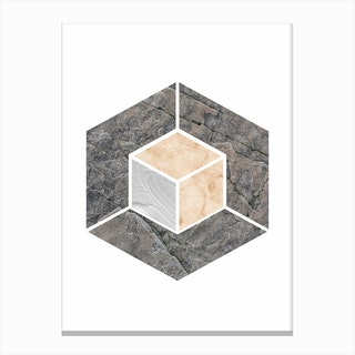 Peach and Grey Marble Hex Canvas Print