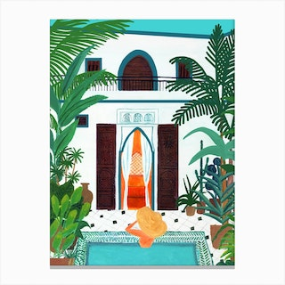 Summer Pool House Canvas Print