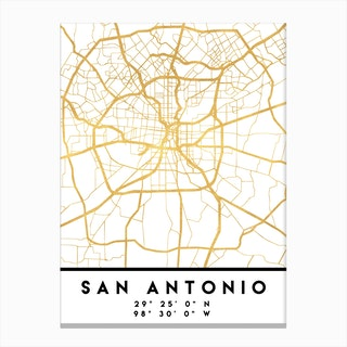 San Antonio Texas City Street Map Canvas Print