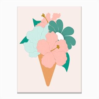 Beautiful Ice Cream Flower Canvas Print