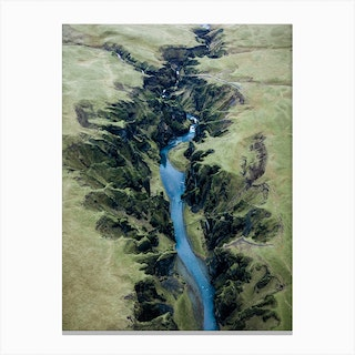 Green Canyon In Iceland From Above Canvas Print