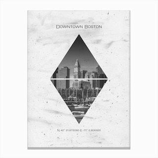 Downtown Boston Coordinates Canvas Print