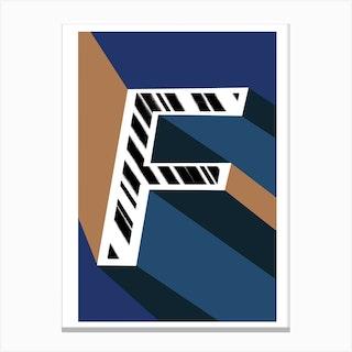 F Geometric Font Canvas Print