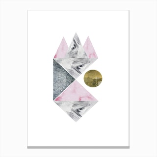 Pink, Gold and Grey Marble Abstract Canvas Print