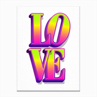 Love Neon White Canvas Print
