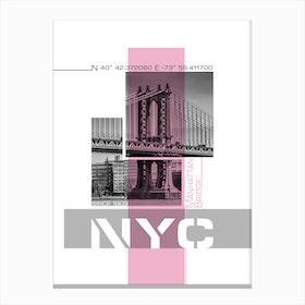 Poster Art Nyc Manhattan Bridge & East River Pink Canvas Print