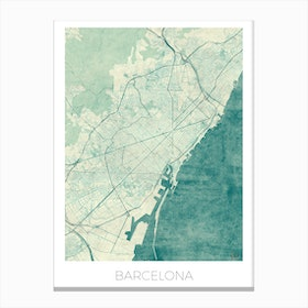 Barcelona Map Vintage in Blue Canvas Print