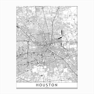 Houston White Map Canvas Print
