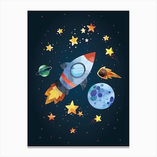 Watercolour Rocket Canvas Print