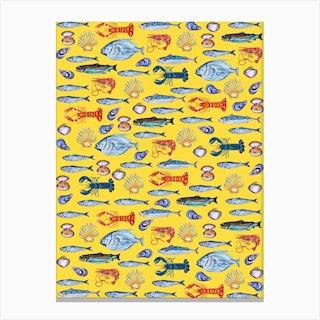 Fish Wallpaper Yellow Canvas Print
