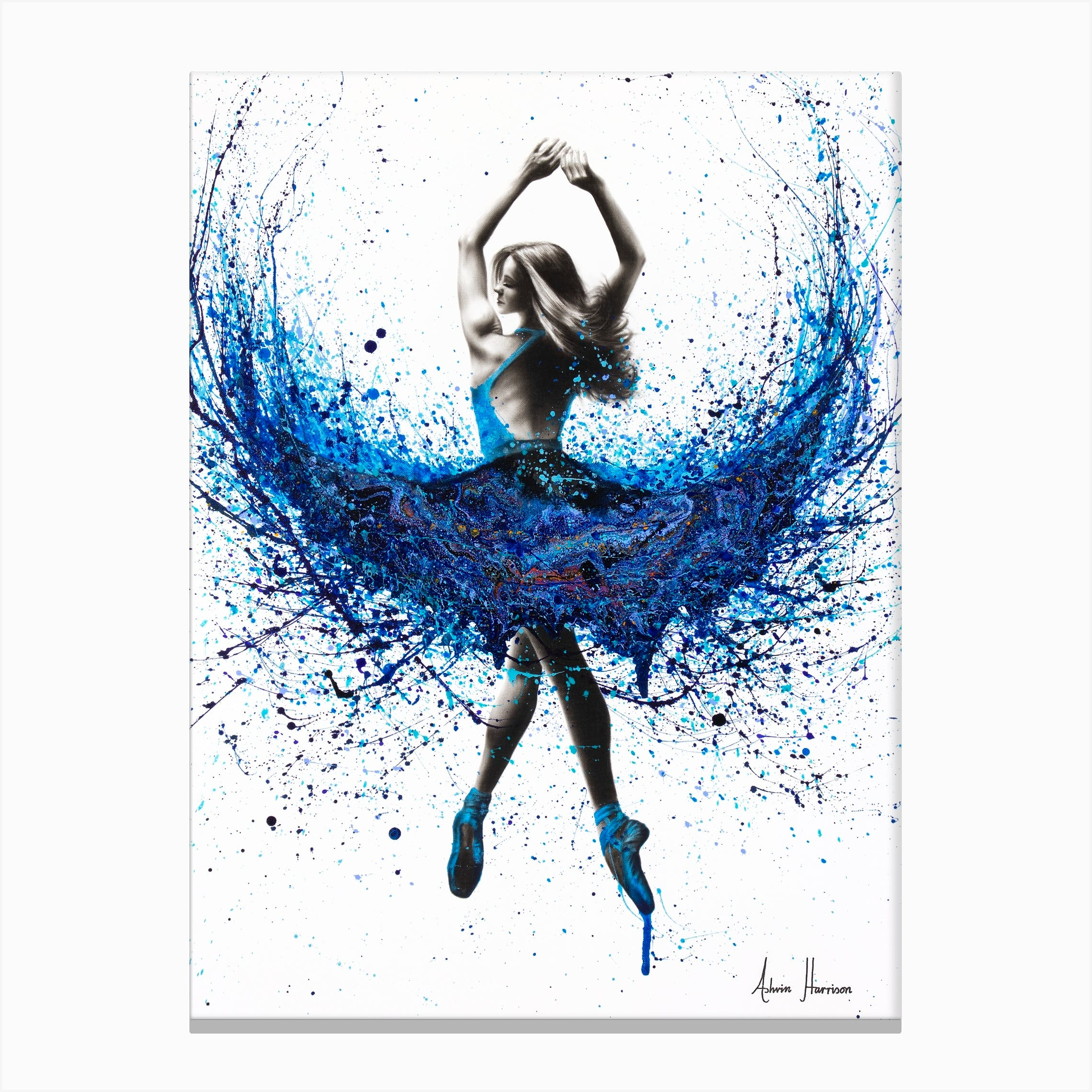 BALLET DANCERS IN MOTION BLUE MODERN WALL ART CANVAS PRINT PICTURE READY TO HANG