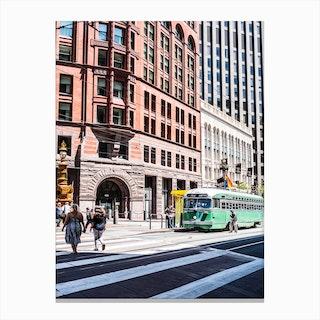 Green Trolley Canvas Print