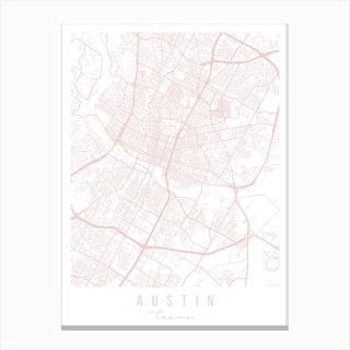 Austin Texas Light Pink Minimal Street Map Canvas Print