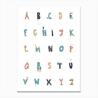 Apple To Zebra Alphabet Canvas Print