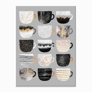 Pretty Coffee Cups 3 - Grey Canvas Print