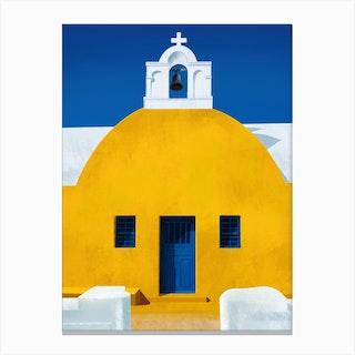 Mellow Yellow Chapel Santorini Canvas Print