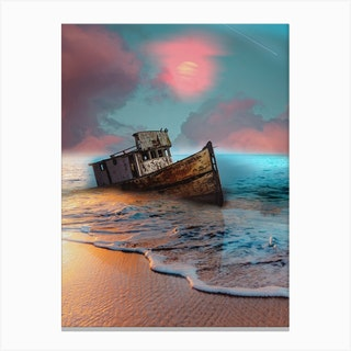 Shooting Star Boat On Shaw Canvas Print