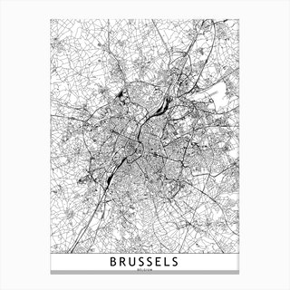 Brussels White Map Canvas Print