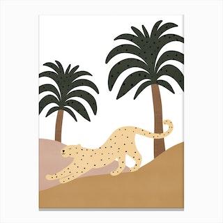 Jungle Art  Leopard Stretching Canvas Print