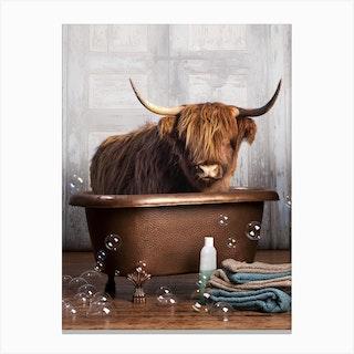 Highland Cow In A Bathtub Canvas Print