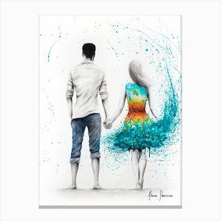 Ocean Sunset Love Canvas Print