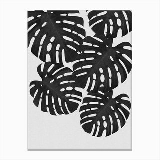 Monstera Leaf Black & White I Canvas Print