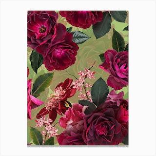 Vintage Summer Botanical Roses Garden Canvas Print