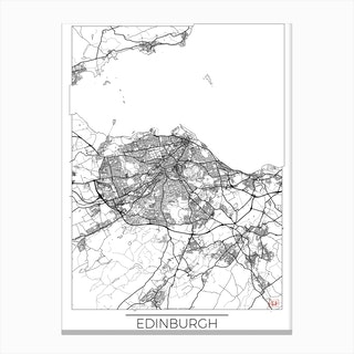 Edinburgh Map Minimal Canvas Print