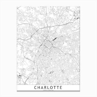 Charlotte White Map Canvas Print