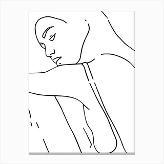 Woman Outline Black And White Canvas Print