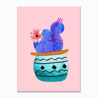 Green Pot And Galaxy Cacti Canvas Print