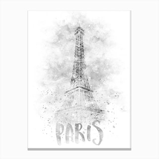 Paris Watercolor Eiffel Tower Canvas Print