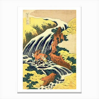 The Waterfall Where Yoshitsune Washed His Horse Canvas Print