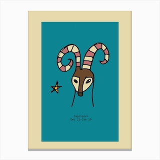 Retro Zodiac Capricorn Rectangular Canvas Print