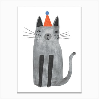 Cat With The Hat Canvas Print