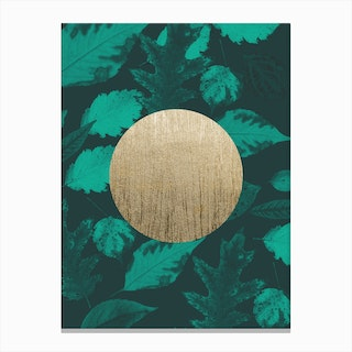 Gold Moon Green Canvas Print