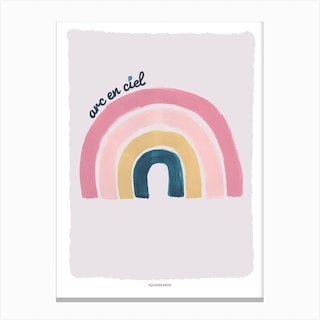 Rainbow In Pink And Teal Canvas Print