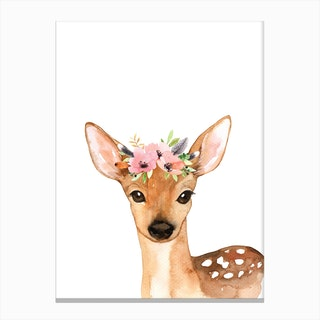 Floral Deer Canvas Print