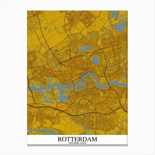 Rotterdam Yellow Blue Canvas Print