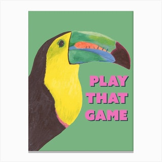 Toucan Play That Game In Green Canvas Print