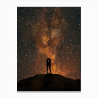 Her Lion, His Wolf Canvas Print