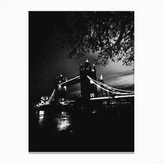London Tower Bridge 2 Bw Canvas Print