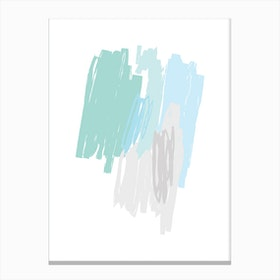 Abstract Mint and Blue Scribbles Canvas Print