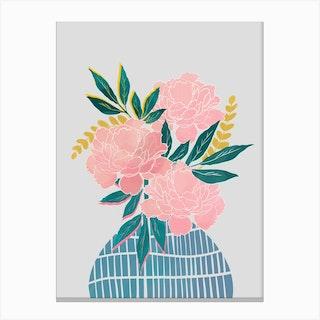 Peony Flowers In Blue Vase Canvas Print