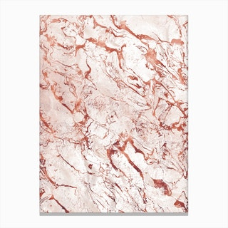 White Rose Gold Marble Canvas Print