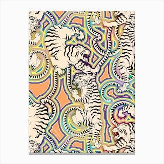 White Tigers Indian Carpet Canvas Print
