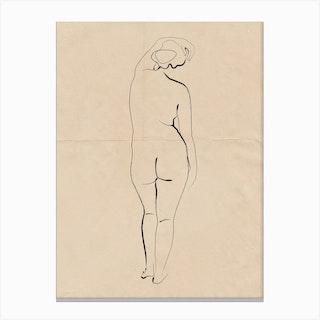 Nude On Vintage Paper 03 Canvas Print