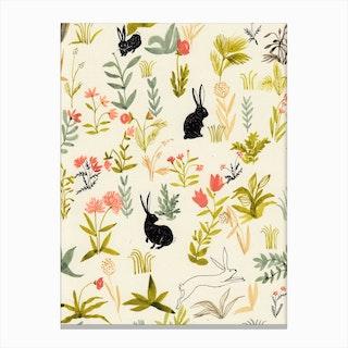 Black Rabbits Canvas Print