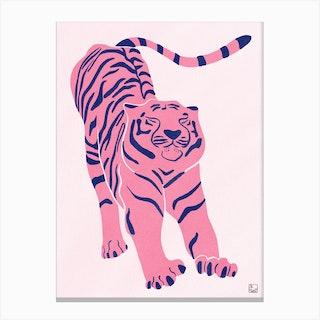 Tiger Doesnt Lose Sleep Pink Canvas Print
